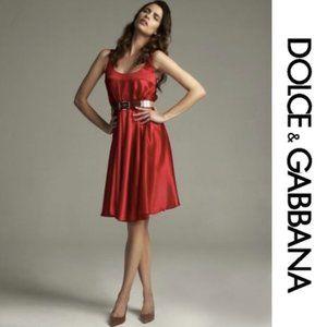 NWT DOLCE & GABBANA Red Silk Flapper Dress
